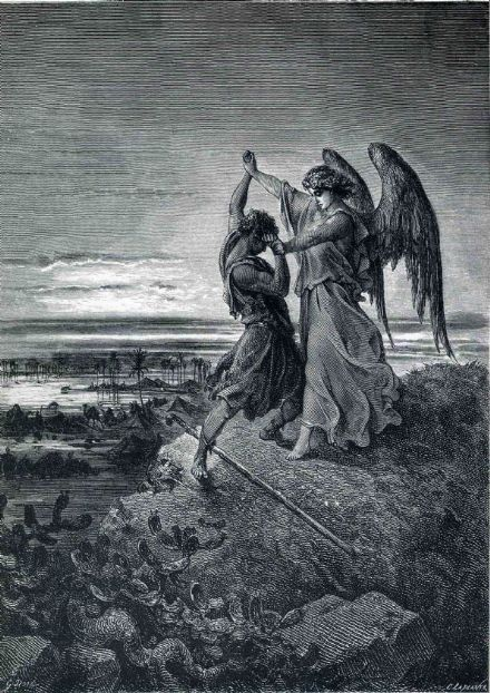 Dore, Gustave: Jacob Wrestling with the Angel. Fine Art Print/Poster. Sizes: A4/A3/A2/A1 (001830)